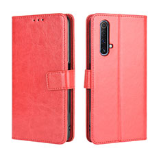 Leather Case Stands Flip Cover Holder for Realme X3 Red