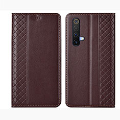 Leather Case Stands Flip Cover Holder for Realme X50 5G Brown