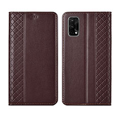 Leather Case Stands Flip Cover Holder for Realme X7 Pro 5G Brown