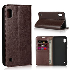 Leather Case Stands Flip Cover Holder for Samsung Galaxy A10 Brown