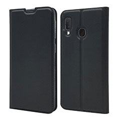 Leather Case Stands Flip Cover Holder for Samsung Galaxy A20e Black
