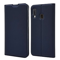 Leather Case Stands Flip Cover Holder for Samsung Galaxy A20e Blue