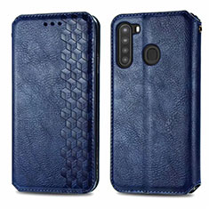 Leather Case Stands Flip Cover Holder for Samsung Galaxy A21 Blue