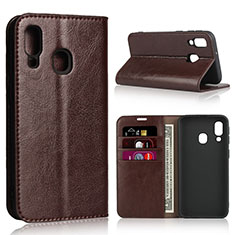 Leather Case Stands Flip Cover Holder for Samsung Galaxy A40 Brown