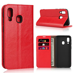 Leather Case Stands Flip Cover Holder for Samsung Galaxy A40 Red