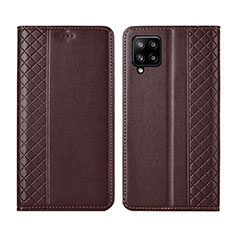 Leather Case Stands Flip Cover Holder for Samsung Galaxy A42 5G Brown