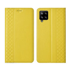 Leather Case Stands Flip Cover Holder for Samsung Galaxy A42 5G Yellow