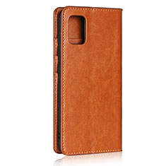 Leather Case Stands Flip Cover Holder for Samsung Galaxy A51 4G Light Brown