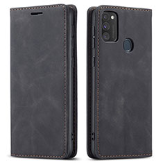 Leather Case Stands Flip Cover Holder for Samsung Galaxy M21 Black