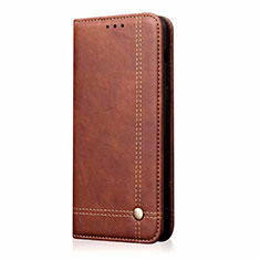 Leather Case Stands Flip Cover Holder for Samsung Galaxy M21s Brown