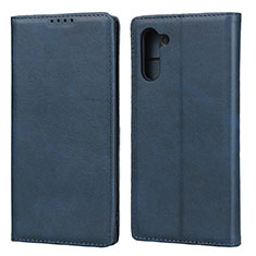 Leather Case Stands Flip Cover Holder for Samsung Galaxy Note 10 5G Blue