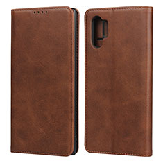 Leather Case Stands Flip Cover Holder for Samsung Galaxy Note 10 Plus Brown