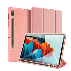 Leather Case Stands Flip Cover Holder for Samsung Galaxy Tab S7 Plus 12.4 Wi-Fi SM-T970 Pink