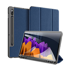 Leather Case Stands Flip Cover Holder for Samsung Galaxy Tab S7 Plus 5G 12.4 SM-T976 Blue