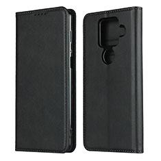Leather Case Stands Flip Cover Holder for Sharp AQUOS Sense4 Plus Black