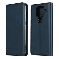 Leather Case Stands Flip Cover Holder for Sharp AQUOS Sense4 Plus Blue