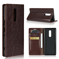 Leather Case Stands Flip Cover Holder for Sony Xperia 1 Brown
