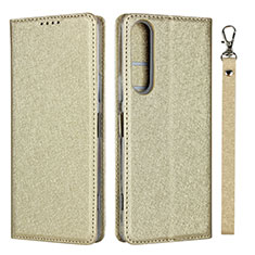 Leather Case Stands Flip Cover Holder for Sony Xperia 1 II Gold
