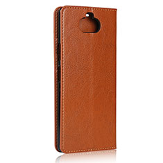 Leather Case Stands Flip Cover Holder for Sony Xperia 8 Lite Light Brown
