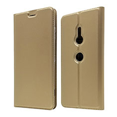 Leather Case Stands Flip Cover Holder for Sony Xperia XZ3 Gold