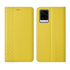 Leather Case Stands Flip Cover Holder for Vivo V20 Pro 5G Yellow