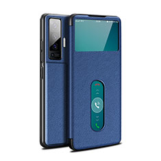Leather Case Stands Flip Cover Holder for Vivo X50 5G Blue
