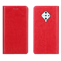 Leather Case Stands Flip Cover Holder for Vivo X50 Lite Red