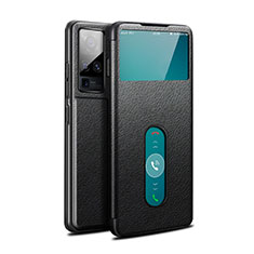 Leather Case Stands Flip Cover Holder for Vivo X50 Pro 5G Black