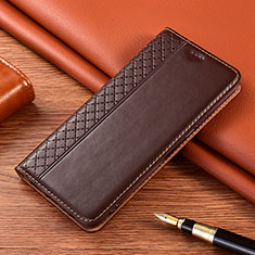 Leather Case Stands Flip Cover Holder for Vivo X50e 5G Brown