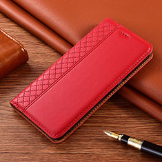 Leather Case Stands Flip Cover Holder for Vivo X50e 5G Red