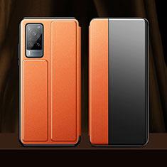 Leather Case Stands Flip Cover Holder for Vivo X60 5G Orange
