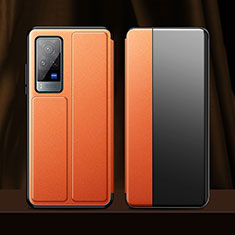 Leather Case Stands Flip Cover Holder for Vivo X60 Pro 5G Orange