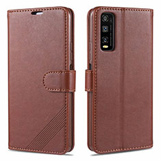 Leather Case Stands Flip Cover Holder for Vivo Y12s Brown