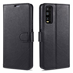 Leather Case Stands Flip Cover Holder for Vivo Y20s Black