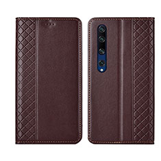 Leather Case Stands Flip Cover Holder for Xiaomi Mi 10 Brown