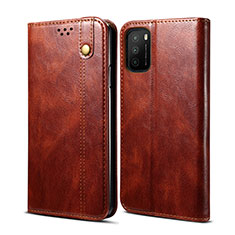 Leather Case Stands Flip Cover Holder for Xiaomi Poco M3 Brown