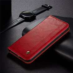 Leather Case Stands Flip Cover Holder for Xiaomi Redmi 9 India Red