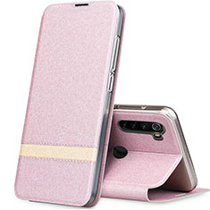 Leather Case Stands Flip Cover Holder for Xiaomi Redmi Note 8 Rose Gold