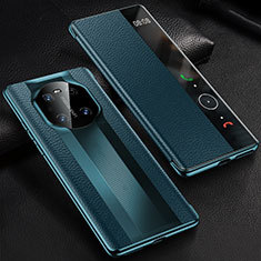 Leather Case Stands Flip Cover K01 Holder for Huawei Mate 40 Pro Blue