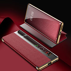 Leather Case Stands Flip Cover K07 Holder for Huawei Mate 40 Pro Red Wine