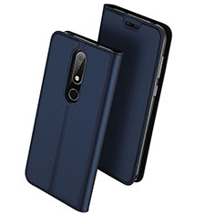 Leather Case Stands Flip Cover L01 for Nokia 6.1 Plus Blue