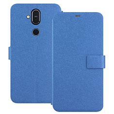 Leather Case Stands Flip Cover L01 for Nokia 7.1 Plus Blue