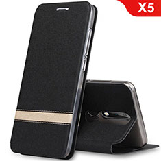 Leather Case Stands Flip Cover L01 for Nokia X5 Black