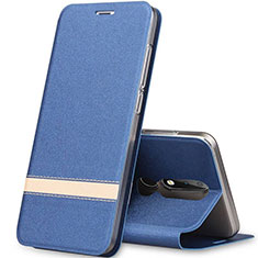 Leather Case Stands Flip Cover L01 for Nokia X5 Blue