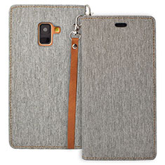Leather Case Stands Flip Cover L01 for Samsung Galaxy A8 (2018) A530F Gray