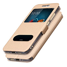 Leather Case Stands Flip Cover L01 for Samsung Galaxy J5 (2017) SM-J750F Gold