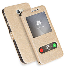 Leather Case Stands Flip Cover L01 for Samsung Galaxy J7 Prime Gold