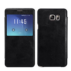 Leather Case Stands Flip Cover L01 for Samsung Galaxy Note 5 N9200 N920 N920F Black