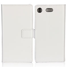 Leather Case Stands Flip Cover L01 for Sony Xperia XZ1 Compact White