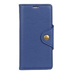 Leather Case Stands Flip Cover L01 Holder for Alcatel 1 Blue
